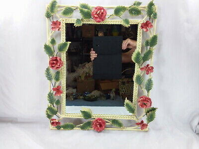"""Large Vintage Italian Tole Wall Mirror 23"""" X 19"""" Exc Cond Shabby Chic Red Roses"""