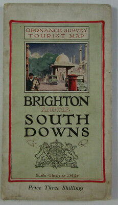 1922 Old Ordnance Survey OS One Inch Tourist Map Brighton & The South Downs
