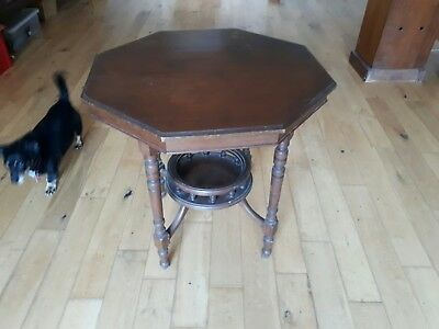 Edwardian mahogany vintage octagonal sewing table, sat in our lounge many years