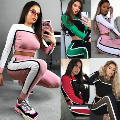 2Pcs Womens Fashion Striped Tracksuits Crop Tops Pants Sport Jumpsuit Sweatshirt