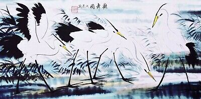 100% ORIENTAL ASIAN ART CHINESE WATERCOLOR PAINTING-Crane bird lover family