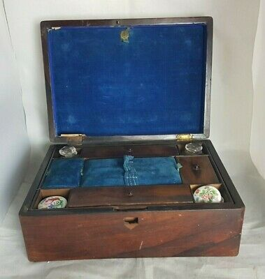 Beautiful Antique Wooden Writing Box with glass inkwells (Weight - 1.6 kg)