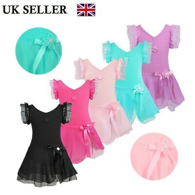 UK Girls Flower Ballet Dance Tutu Dress Gymnastics Leotards Skirt Show Costumes