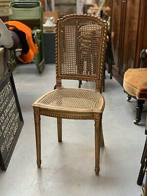 Antique 19th Century French Bergere Chair Gilded With Caning