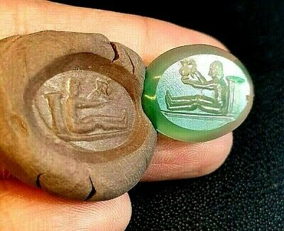 Authentic Ancient Green agate Intaglio Roman Man Holding Water Vase Seal Stamp
