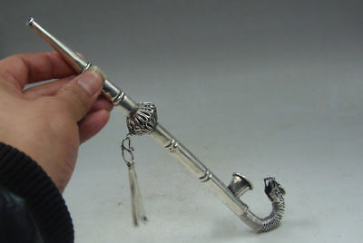 Exquisite Collection Old Tibetan Silver Handwork carved Dragon Smoking Tool pipe