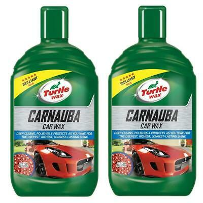 Turtle Wax Carnauba Liquid Car Wax Detailing Lasting Protection & Shine 2x500ml