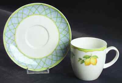 Mikasa Optima FRUIT RAPTURE 7 Flat Cups and 8 Saucers 3""