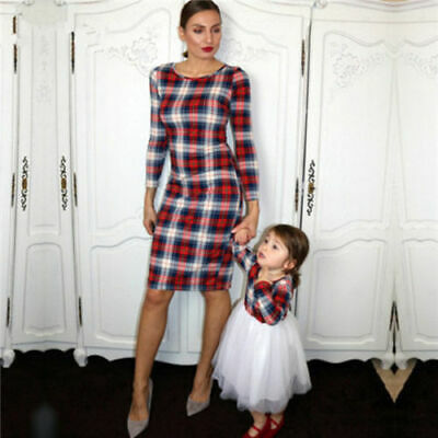 AU Family Matching Outfits Mother and Daughter Clothes Plaid Clothes TUTU Skirt
