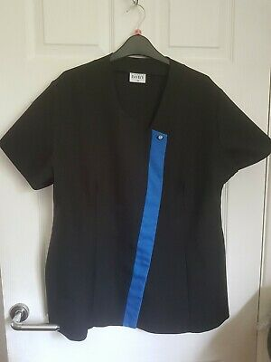 BEAUTY THERAPIST/NAIL TECH TUNIC by FLORENCE ROBY - BLACK/BLUE DETAIL size 20