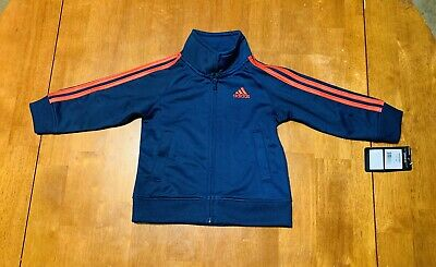 Adidas Boys Track Jacket Blue Orange Boys Size 18 Months NWT