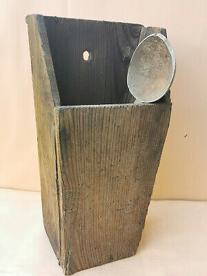 ANTIQUE PRIMITIVE OLD WOODEN WALL HANGING KITCHEN BOX FOR SPOONS + gift 1 spoon