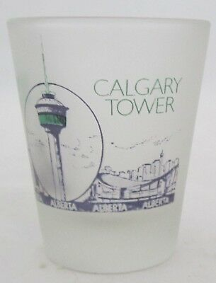 CALGARY TOWER ALBERTA CANADA 1.5 oz Frosted Shot glass collectible