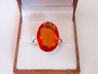 RARE Vintage Elegant Ring RED Stone Silver 875 Star USSR Antique Size 9.5