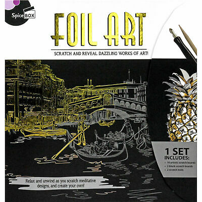 Foil Scratch Art Kit - Etching Set with Art Boards, Scratch Tool, Instructions