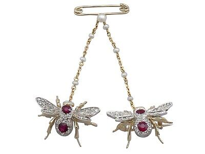 Antique Victorian 1.10ct Ruby Opal 0.78ct Diamond 15Carat Gold Bee Brooch C1890