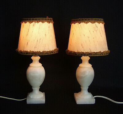 PAIR ANTIQUE VINTAGE French alabaster boudoir, table lamps, lights