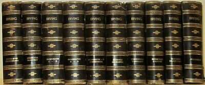 LEATHER Set;WORKS OF WASHINGTON IRVING! ca.1885 LEATHERBOUND ANTIQUARIAN LIBRARY