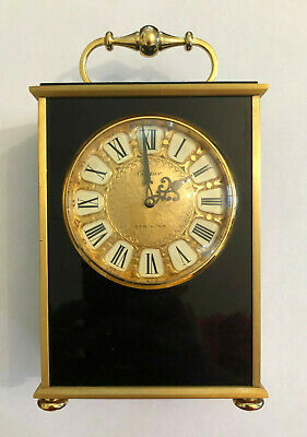 Cartier Vintage Swiss Made Gilded Brass w Onyx Art Deco Striking Carriage Clock