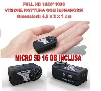 Mini Dv MD80 Full HD 1920 1080 Night Vision Micro Camera Spy 12 Mpixel + SD 16GB