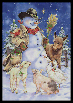 Avdeev Christmas New Year greeting card snowman watercolor handmade by S