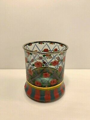 MacKenzie Childs Circus Rose Old Fashion Glass