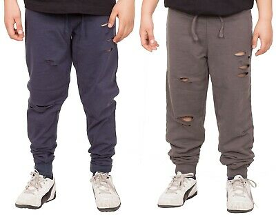 Boys Kids Fleece Trousers Jogging Bottoms Ripped Distressed Pants