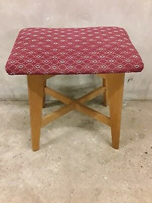 Vintage/Retro White & Newton Stool - Mid century - Solid Oak