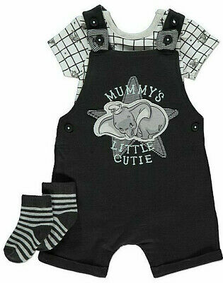Disney Baby Boys Dumbo Dungarees Bodysuit and Socks Outfit 12-18 Months BNWT
