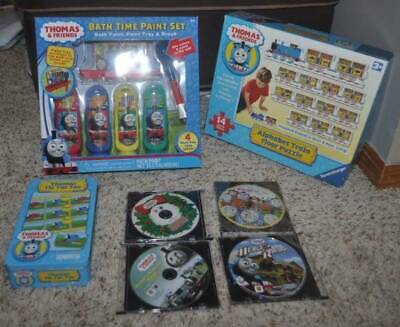 7 Thomas The Train 6 Ft Puzzle, Tic Tac Toe, Bathtime & 4 Thomas & Friends DVD's