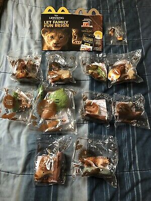 THE LION KING McDonalds  Complete Set 10 Toys, Pins And Happy Meal Box 2019