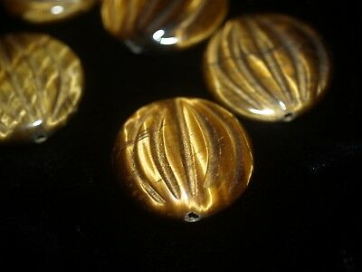Vintage Carved Chinese Tigers Tiger Eye Bead Melon Design 25mm x 8mm Flat Round