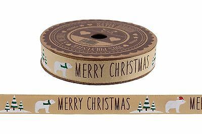 CHRISTMAS Ribbon POLAR BEAR Decorative Gold craft Gift Wrap 5 METER Roll COTTON