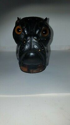 Carved Wood Bulldog Inkwell missing insert worn collar chipped ears 5 x 4.5 x 3