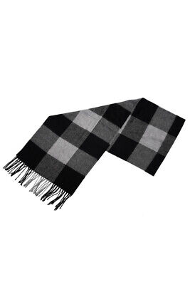 Chic Black & Gray Checked Pattern Fringe Decorated Men's Scarf N8H3