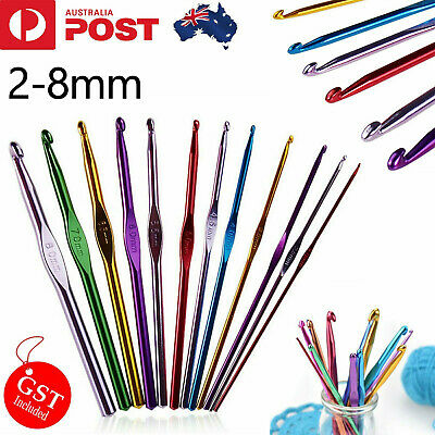 12 Size Multi Coloured Aluminium Crochet Hooks Yarn Knitting Needles 2-8mm Set A