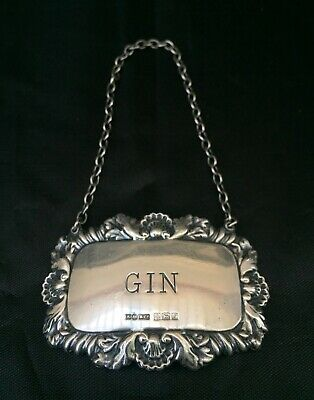 English Sterling Silver Gin Decanter Label Shell/Foliate Motif Hallmarked 1967