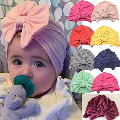 Toddler Kids Baby Infant Bow-knot Headband Beanie Turban Hat Cap Head Wrap Hot