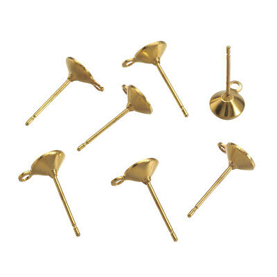 500 Brass Point Back Cup Earring Posts w/ Loop Gold Stud Earwire Findings 14x6mm
