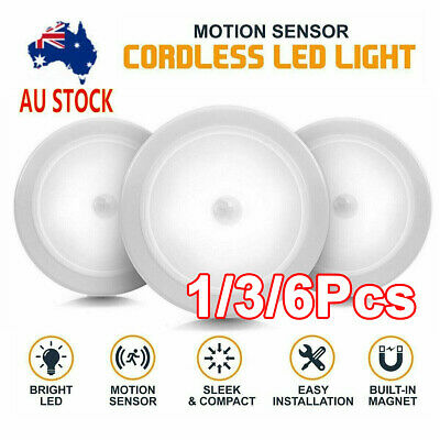 Indoor Outdoor 6LED Motion Sensor Stick On Light Battery Powered Stairs Hallway