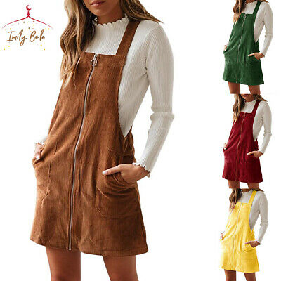 Women A Line Dress Overall Zip Up Straps Classic Suspende Skirt Mini with Pocket