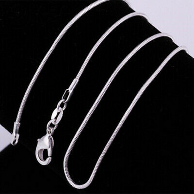 New 925 Sterling Silver 1MM Classic Snake Necklace Chain Unisex 16 - 20'' 10PCS