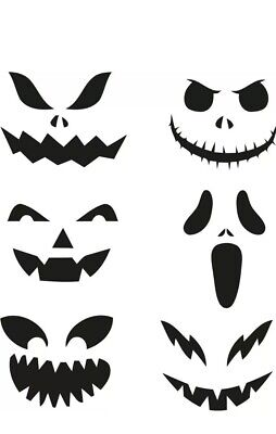 6 X Image Halloween Scary Faces Vinyl Sticker For Craft, Wine Glass, Bottle