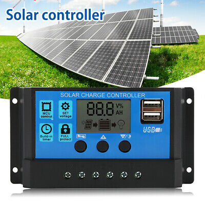 LCD Solar Panel Battery Regulator Charge Controller Dual USB 12V 24V 20A 30A
