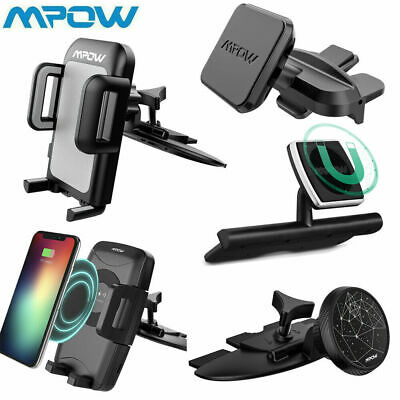 Mpow Qi Wireless Charging Car Phone Holder CD Slot Mount Stander 360° Swivel