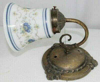 Vintage Abigail Adams Brass Porcelain Shade Hurricane Lamps Wall Sconce Light