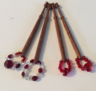 2prs.slim Timber spangled( Glass Crystal Beads) Lace Bobbins-Free Postage