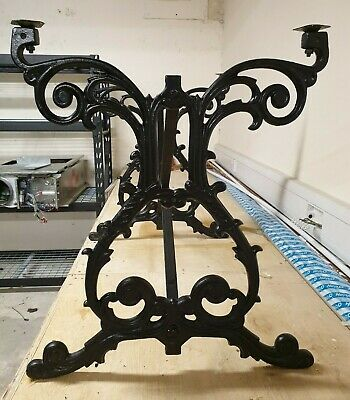 Rectangular Scroll Table cast iron base decoratively detailed
