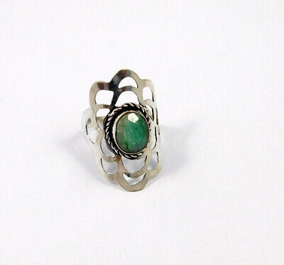 Dyed Emerald .925 Silver Plated Handmade Ring Size-9.50 Jewelry JC7828