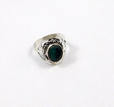 Dyed Emerald .925 Silver Plated Handmade Ring Size-8.50 Jewelry JC7839